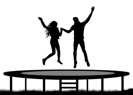 Jumping people on a trampoline silhouette, jump young couple.