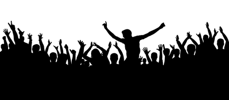 Party people, applaud. Cheerful crowd silhouette background. Fans dance concert, disco. 免版税图像 - 95371633