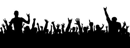 ロックコンサートシルエット。パーティーには大勢の人が集まった。陽気な群衆のシルエット。パーティーの人々、拍手。