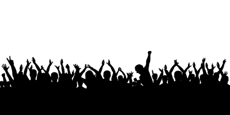 Silhouette of crowd cheering Illustration