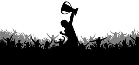 Sport victory cup. Cheering crowd fans silhouette