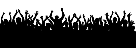Applause crowd silhouette, cheerful people. Concert, party. Funny cheering, isolated vector  イラスト・ベクター素材