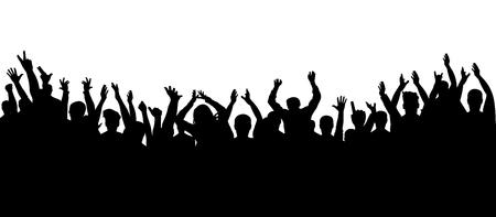 Silhouette of crowd cheering Vettoriali