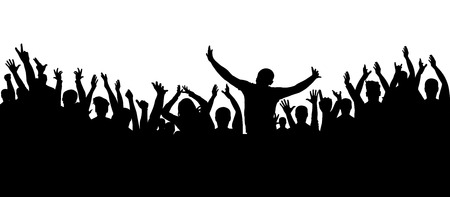 Applause crowd silhouette, cheerful people illustration.
