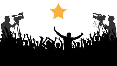 Cheering crowd people concert, party. Applause sports fans. Cameraman shoots a celebrity. Isolated background silhouette vector. A merry crowd of friends rejoice and applaud the star idol. Иллюстрация
