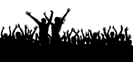Concert disco, dancing crowd silhouette, cheerful people. Vectores