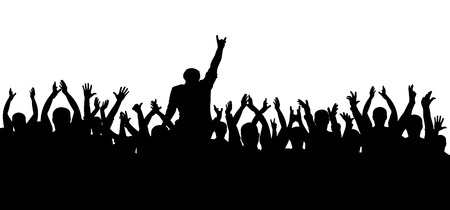 Concert, party. Applause crowd silhouette, cheerful people. Funny cheering. Isolated vector
