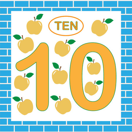 Flashcard with number ten and oranges. Illustration