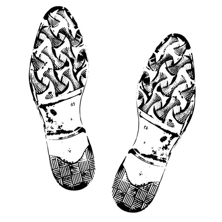 Human footprints shoe silhouette. Boot imprint, male shoes. Isolated on white background.
