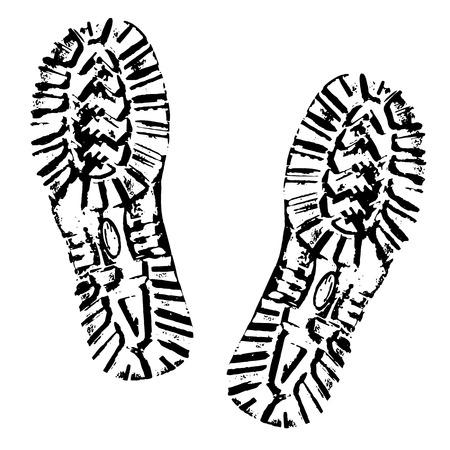 Menselijke voetafdrukken schoen silhouet. Opstartafdruk. Geïsoleerd op witte achtergrond Vector Illustratie