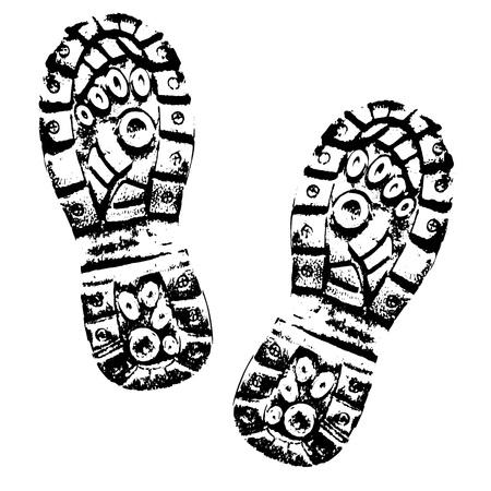 Human footprints shoe silhouette. Boot Imprint
