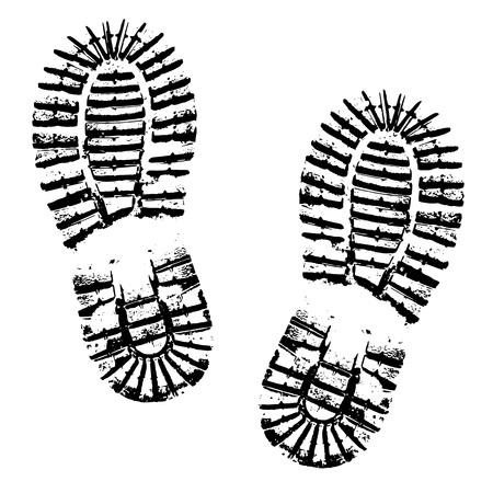 Ludzkie ślady buta sylwetka