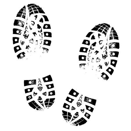 Boot afdruk. Menselijke voetafdrukken schoen silhouet. Geïsoleerd op witte achtergrond Stockfoto - 95806688