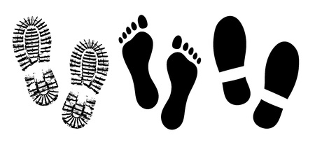 Shoe sole, footprints human shoes silhouette vector, foot barefoot feet Illustration