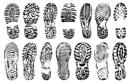 Le scarpe umane imprimono la siluetta, insieme di vettore, isolato su fondo bianco