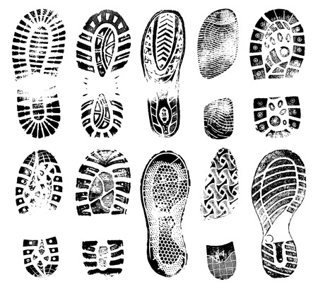 Footprints human shoes silhouette, vector set, traces of boot