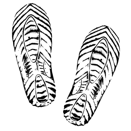 Footprints human shoes silhouette, white background