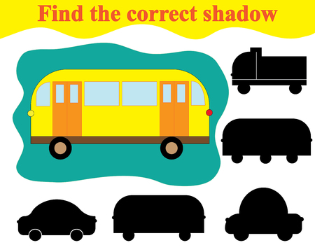 Find silhouette of bus. Educational game for children. Illustration