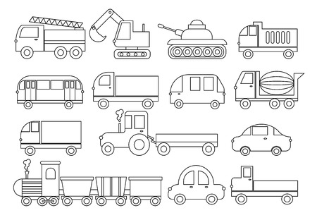 Coloring book, set of transport. Car, bus, train, fire truck, concrete mixer, dump truck, truck, train, tractor, excavator and etc vector illustration.