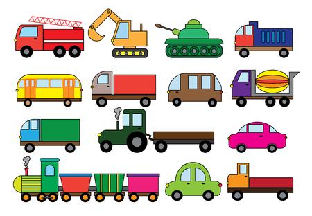 Transport cartoon, set. Surface modes of transport. Car, bus, train, fire truck, concrete mixer, dump truck, truck, train, tractor, excavator and etc vector illustration. 向量圖像