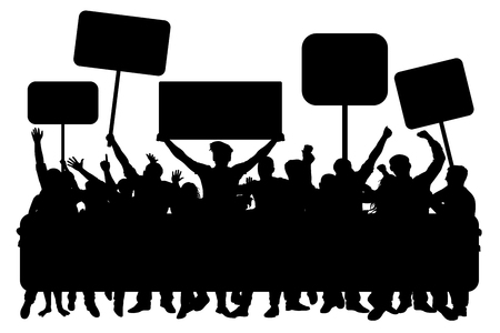 Crowd of people with banners, silhouette vector illustration