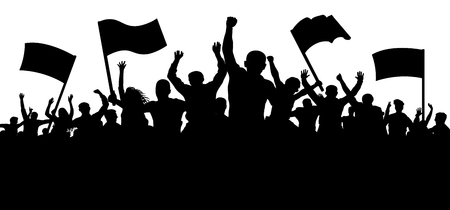 Crowd of people with flags, banners. Sports, mob, fans. Demonstration, manifestation, protest, strike, revolution. Silhouette background vector Stok Fotoğraf - 96689237