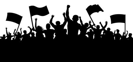Foule de gens avec des drapeaux, des bannières. Sports, mob, fans. Manifestation, manifestation, protestation, grève, révolution. Vecteur de fond de silhouette