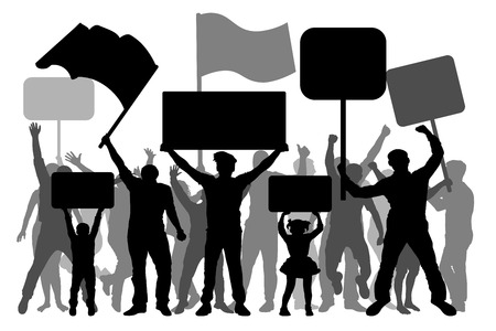 Manifestation, demonstration, protest, revolution, strike. A crowd of people with flags, banners. Isolated on white background, vector silhouette