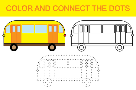 Educational game for children. Color and connect the dots to create bus.