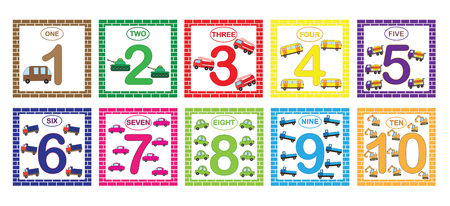 Learning numbers, mathematics with cars (transport). Flash cards with numbers from 1 to 10, set. Game for children Vector illustration.