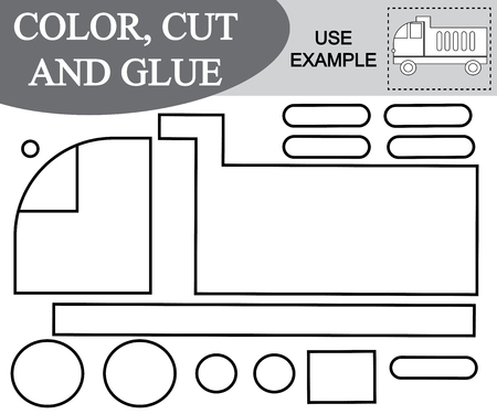 Activity for children. Color, cut and glue image of dump truck. Vector illustration. Illustration