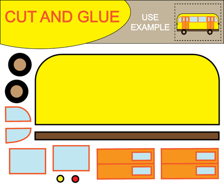 Create the image of bus using scissors and glue. Educational paper kids game. Vector illustration. Vettoriali