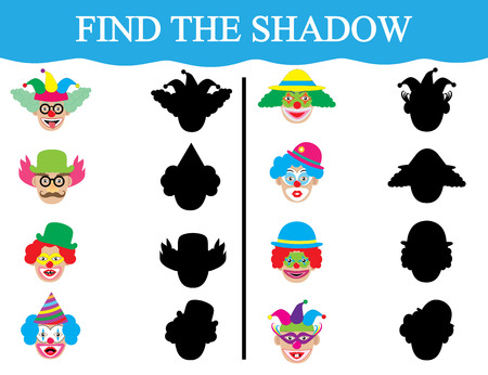 Find the shadows of clown's faces.  Vector illustration.