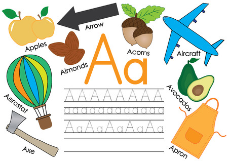 Letter A. Learning English alphabet with pictures and writing practice for children. Vector illustration. Vettoriali