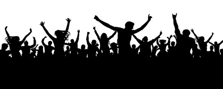 Crowd cheerful people silhouette. Joyful mob. Happy group of young people dancing at musical party, concert, disco. Sports fans, applause, cheering. Vector on white background