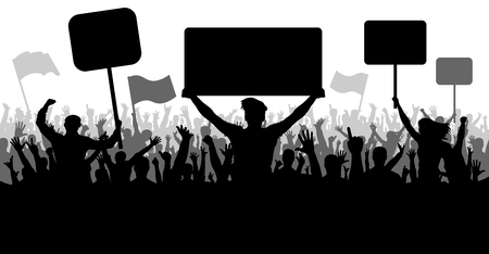 Crowd of people with flags, banners. Sports, mob, fans. Demonstration, manifestation, protest, strike, revolution. Silhouette background vector, angry mob