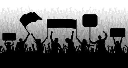 Demonstration, manifestation, protest, strike, revolution. Crowd of people with flags, banners. Sports, mob, fans. Silhouette background vector Vettoriali