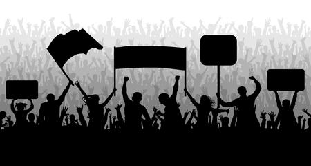 Manifestation, manifestation, protestation, grève, révolution. Foule de gens avec des drapeaux, des bannières. Sports, mob, fans. Vecteur de fond de silhouette Vecteurs