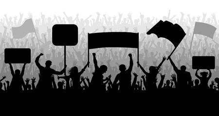 Manifestación, manifestación, protesta, huelga, revolución. Vector de fondo de silueta. Multitud de personas con banderas, pancartas. Deportes, mafia, fanáticos