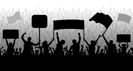 Demonstration, manifestation, protest, strike, revolution. Silhouette background vector. Crowd of people with flags, banners. Sports, mob, fans