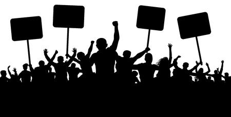 Manifestación, huelga, manifestación, protesta, revolución. Vector de fondo de silueta. Deportes, mafia, aficionados. Multitud de personas con banderas, pancartas