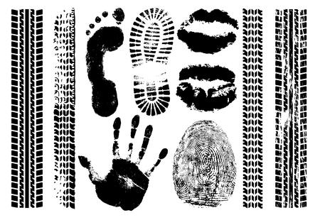 Imprint set evidence. Handprint, footprint, fingerprint, print of the lips, tire tracks. Isolated silhouette vector on white background