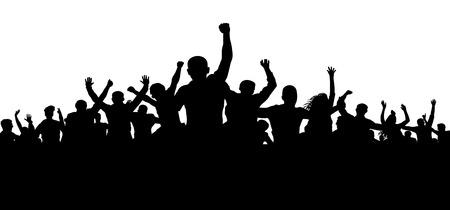 Manifestantes, multitud de personas enfurecidas silueta vector, multitud enojada