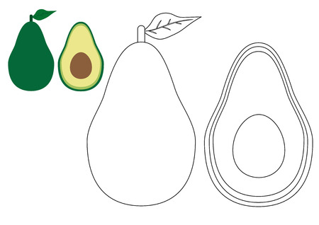 Avocadoes outline image illustration Illustration