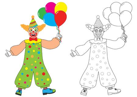 Clown avec des ballons Livre de coloriage Activité pour les enfants. Illustration vectorielle. Vecteurs