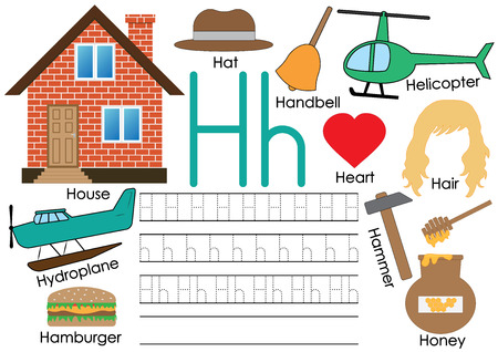 Letter H. Learning English alphabet with pictures. Writing practice. Vector illustration. Ilustrace