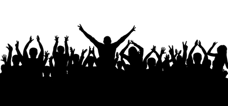 Applause, cheerful crowd, silhouette vector