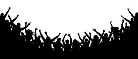 Gente alegre multitud aplaudiendo, silueta. Fiesta, aplausos. Los fanáticos bailan concierto, discoteca espectadores, caos audiencia sombra Ilustración de vector