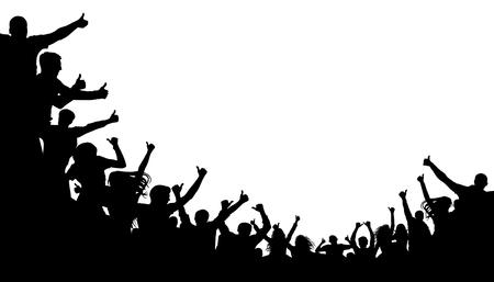 La folla di persone mostra il dito indice verso l'alto. Classe pollice in su. Folla di gente allegra applaudire, silhouette.