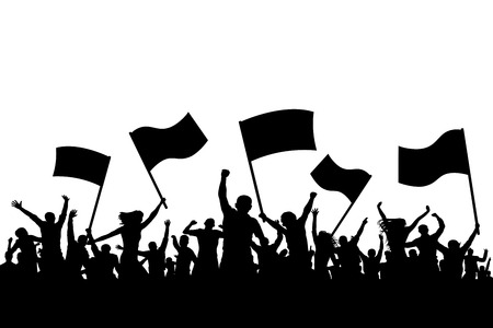 An illustration of the crowd on a cheerful applause holding flags in silhouette. Stock Illustratie